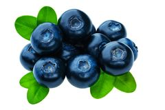 Blueberries natural antioxidant food isolated on white background, macro shot Royalty Free Stock Image