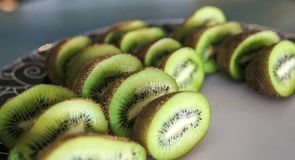 Group of fresh kiwis slices stock images