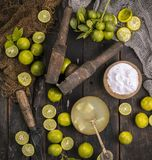 Fresh Lemon. Group of fresh lemon on old wooden background royalty free stock images
