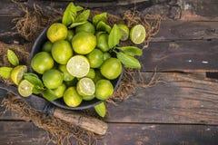 Fresh Lemon. Group of fresh lemon on old wooden background royalty free stock photos