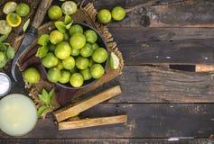 Fresh Lemon. Group of fresh lemon on old wooden background royalty free stock photo