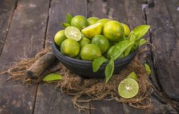Fresh Lemon. Group of fresh lemon on old wooden background royalty free stock image