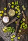 Fresh Lemon. Group of fresh lemon on old wooden background royalty free stock photography