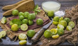 Fresh Lemon. Group of fresh lemon on old wooden background stock photography