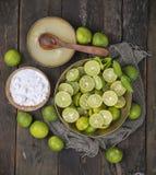Fresh Lemon. Group of fresh lemon on old wooden background stock photo