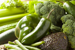 Group of Fresh Organic Assorted Green Vegetables. Group of Raw Fresh Organic Assorted Green Vegetables Stock Image