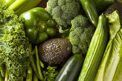 Group of Fresh Organic Assorted Green Vegetables Royalty Free Stock Photo