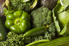 Group of Fresh Organic Assorted Green Vegetables. Group of Raw Fresh Organic Assorted Green Vegetables Royalty Free Stock Image