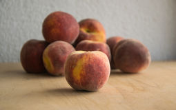 Group of fresh peaches bought on local market Royalty Free Stock Photos