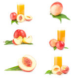 Group of fresh peaches fruits isolated on a white cutout Stock Photo