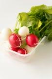 Group of fresh radishes on white background. Image of group of fresh radishes Stock Photo