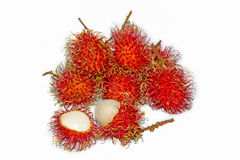 Group of fresh rambutan fruit on white background. Rambutan is a tropical fruit native to Southeast Asia Royalty Free Stock Photo