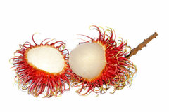 Group of fresh rambutan fruit on white background. Rambutan is a tropical fruit native to Southeast Asia Royalty Free Stock Image