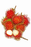 Group of fresh rambutan fruit on white background. Rambutan is a tropical fruit native to Southeast Asia Stock Photography