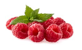 Raspberries Isolated on White Background. Group of fresh Raspberries with mint leaves  Isolated on White Background Royalty Free Stock Image