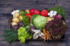 Group of fresh, raw vegetables on rustic wooden table tray. Selection includes carrot, potato, cucumber, tomato, cabbage, lettuce,. Beetroot, onion, garlic Stock Photos