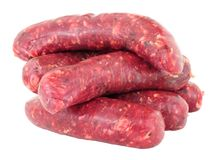 Raw Venison Meat Sausages. Group of fresh raw venison meat sausages isolated on a white background Royalty Free Stock Photos