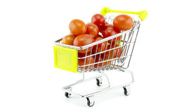 Group of fresh red cherry tomatoes on trolley Stock Images