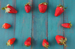 Group of fresh red strawberries in the shape of a picture frame Stock Image