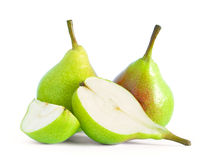 Group of Fresh Ripe Pears Isolated on the White Background Royalty Free Stock Photos