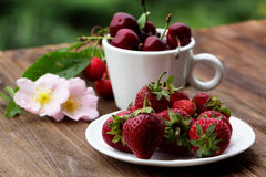 Group of fresh spring fruits together cherries and strawberries. Royalty Free Stock Photos