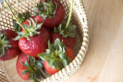 Group of fresh strawberries. In basket Stock Images