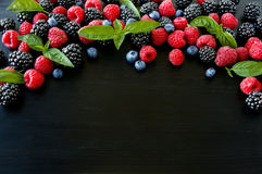 Group of fresh summer berries with basil`s on a black background. Ripe blueberries, raspberries and blackberries. Top view with copy space Stock Images
