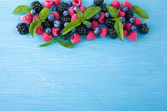 Group of fresh summer berries with basil`s on a blue background. Ripe blueberries, raspberries and blackberries. Royalty Free Stock Images