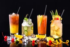 Group of fresh summer cocktails at isolated royalty free stock photo