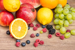 Group Of Fresh Summer Fruits. On Wood Table Stock Photos