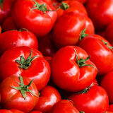 Group of fresh tomatoes background. Ripe red tomatoes on a marke Stock Photos
