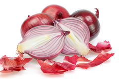 Group of fresh vegetables, onions, unpeeled. Stock Photos