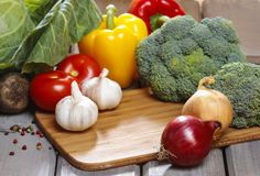 Group of fresh vegetables on wooden table Royalty Free Stock Photos