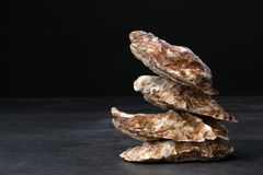 A group of freshly and raw shucked oysters on a black background. Chilled raw oysters. Delicious tropical sea mollusk. A small pile of four close juicy oysters Stock Photo