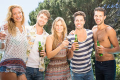 Group of friend having beer Stock Images
