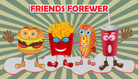 A group of friendly Fast Food meals. Stock Image