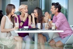 Group of friends. Cheerful group of friends talking royalty free stock image