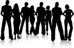 Group of friends. Silhouette of a group of friends royalty free illustration