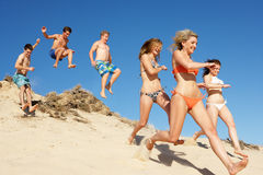 Group Of Friends On Beach Holiday. Group Of Teenage Friends Enjoying Beach Holiday Together royalty free stock images