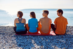Group of friends on the beach Royalty Free Stock Photography