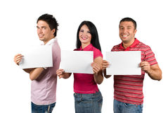 Group of friends with blank signs Royalty Free Stock Images