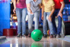 Group of friends bowling. Royalty Free Stock Photo