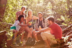 Group Of Friends Breaking For Lunch On Countryside Walk Royalty Free Stock Photography