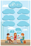 Group of friends in cafe - Vector Illustration with city landscape on window. Royalty Free Stock Photography