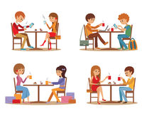 Group of friends In cafe. Young friends talking friendly at coffee shop while drinking hot coffee and using laptop, vector Royalty Free Stock Photography