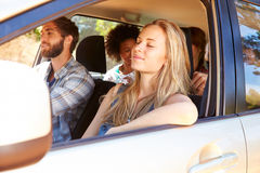 Group Of Friends In Car On Road Trip Together Royalty Free Stock Photography