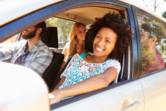 Group Of Friends In Car On Road Trip Together Royalty Free Stock Photos