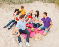 Group of friends celebrating birthday on beach Royalty Free Stock Photo