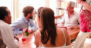Group Of Friends Celebrating Birthday At Home Together stock footage