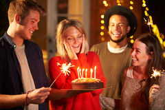 Group Of Friends Celebrating Birthday At Outdoor Party Stock Image